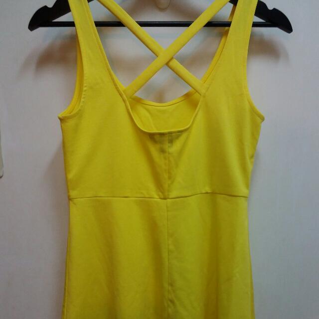 H&M 亮黃色 顯腰身 露背交叉洋裝