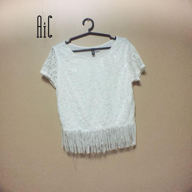 H&M White fringe tops