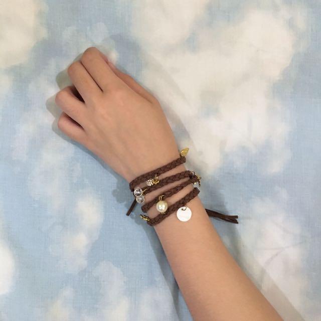 Leather Bracelet W/ Charms