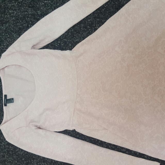 Long Sleeve nude Skater Dress