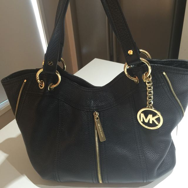 Michael Kors Black And Gold Leather Handbag