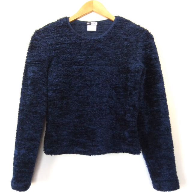 Navy Blue Vintage Furry Sweater