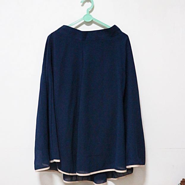 Navy Flare Long Skirt