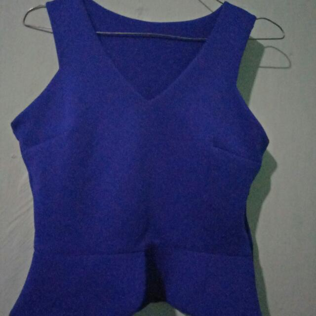 Peplum Top Blue