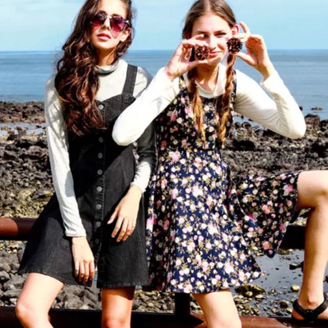 [PO KZ01] High Waisted Button Down Floral Denim Dress