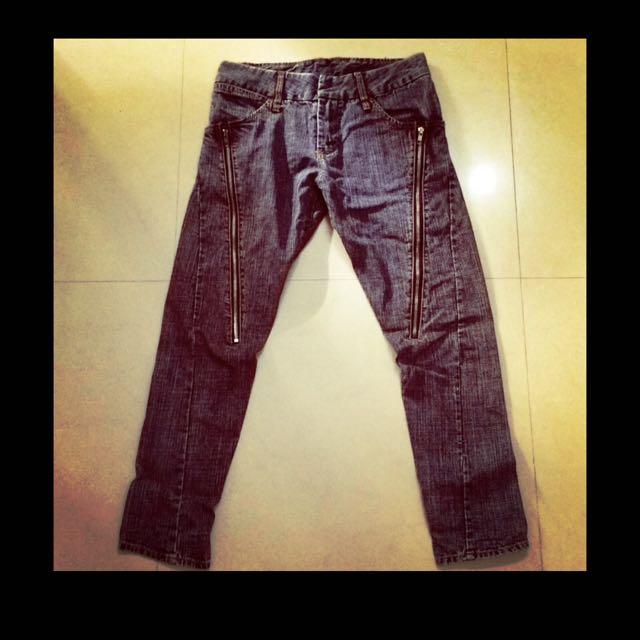 日系品牌Scolar水洗破壞低腰個性長拉鍊黑色牛仔縮腿褲