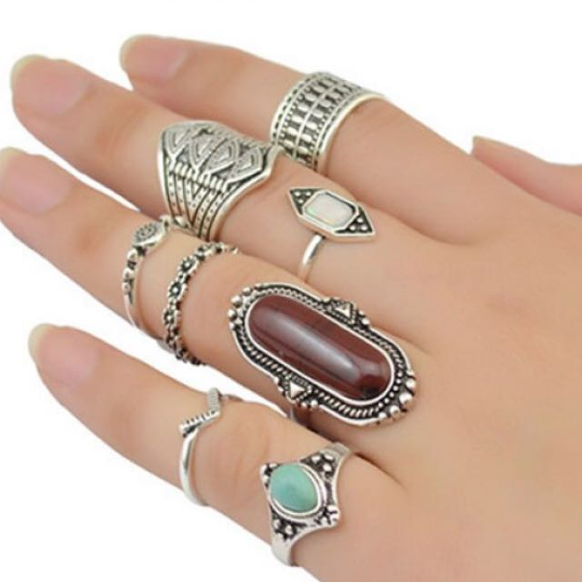 Silver Ring With Turqouise and Brown Stones - Antique Look - Boho Style
