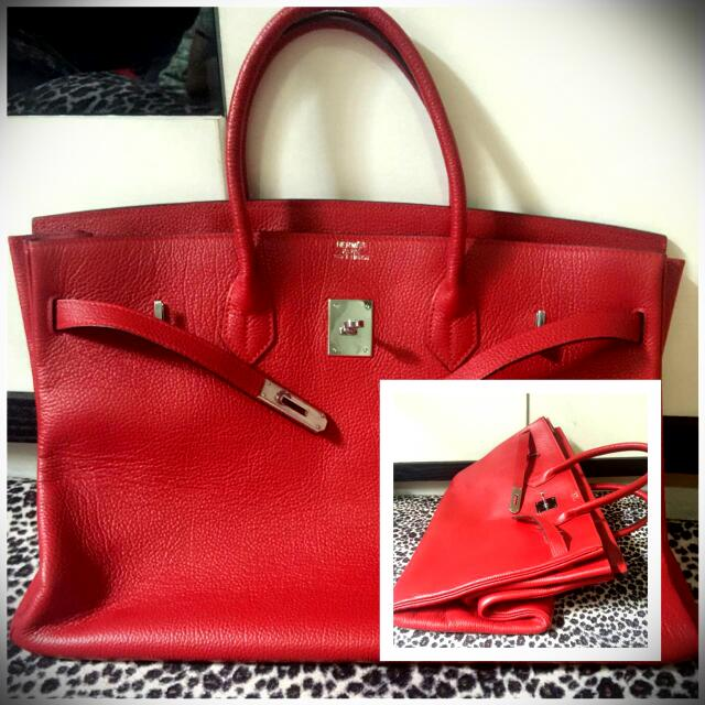 BANTING HARGA !!! Preloved HERMES Vintage RED Velvet 40cm