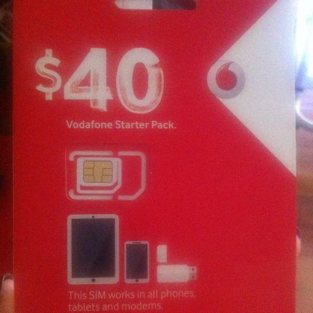 Vodafone Sim Card With $40 Credit