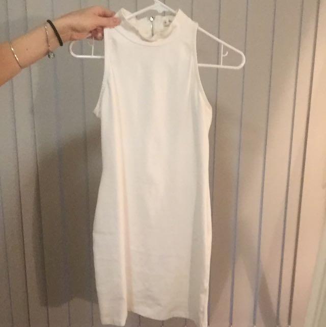 White High Neck Clubbing Dress