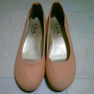 粉膚色跟鞋23-23.5