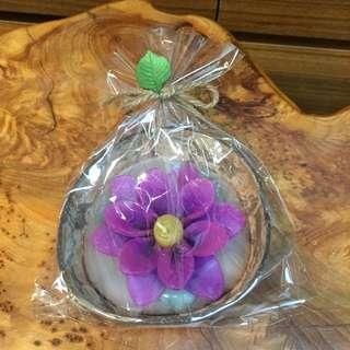 純手工製作(紫)椰子殼泡澡漂浮蠟燭 50g