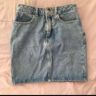 American Apparel Denim High Waist Skirt