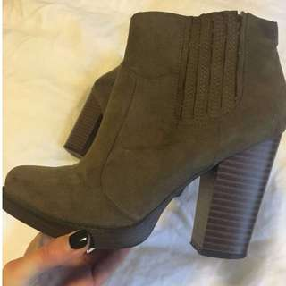 Zara Khaki Ankle Boots size 37