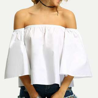 (PENDING)White Off Shoulder Top From ROMWE