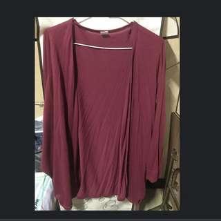 紅色薄針織扣子罩衫💕適合現在穿!