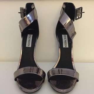 Steve Madden Silver Strappy Stilettos Size 7