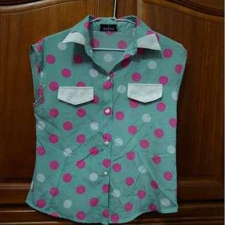 粉紅水玉古著襯衫