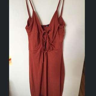 Corset Detail Tie Up Midi Dress