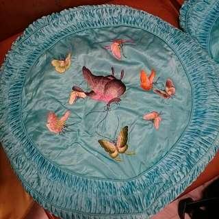 早期古著品 復古糊蝴蝶刺繡圓抱枕/水藍色 一對