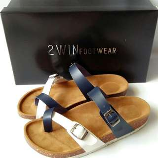 Sandal Wanita Kode SP111 (WHITE NAVY) ready Size 36-40
