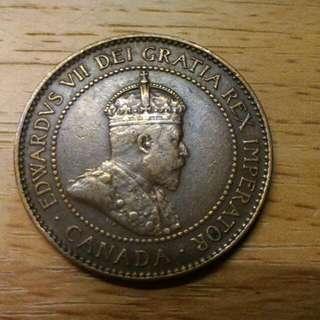 加拿大一仙銅制1906年