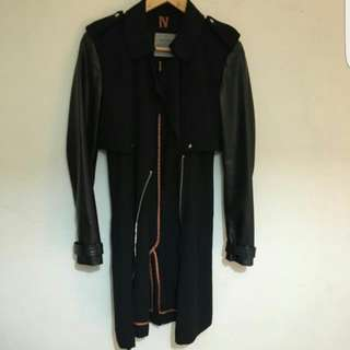Zara Jacket With Leather Sleeves Size M