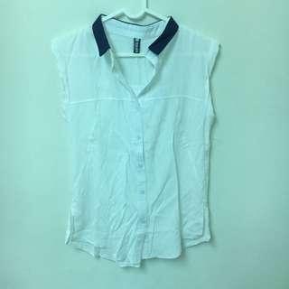 棉麻撞色襯衫