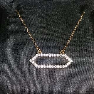Rare Juicy Couture Geometric Open Pave Gold Necklace(100% Genuine,Unused)