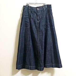 日本購入 shuca global work 超美水洗效果牛仔過膝長裙