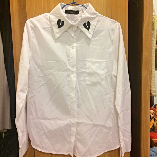 愛心刺繡白襯衫