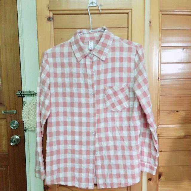 粉白色格子襯衫