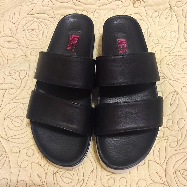 真皮厚底涼鞋