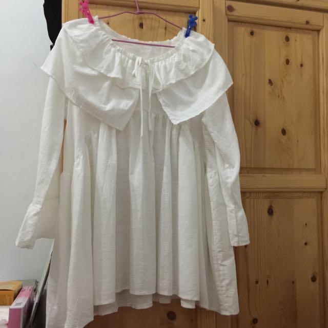 韓系超可愛荷葉領 荷葉袖 白色洋裝