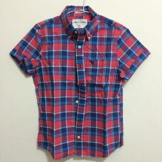 Abercrombie & Fitch 男童刺繡logo格紋襯衫 XL