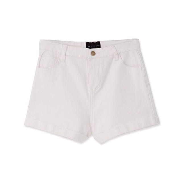 Air Space反折褲管素面彈性高腰短褲