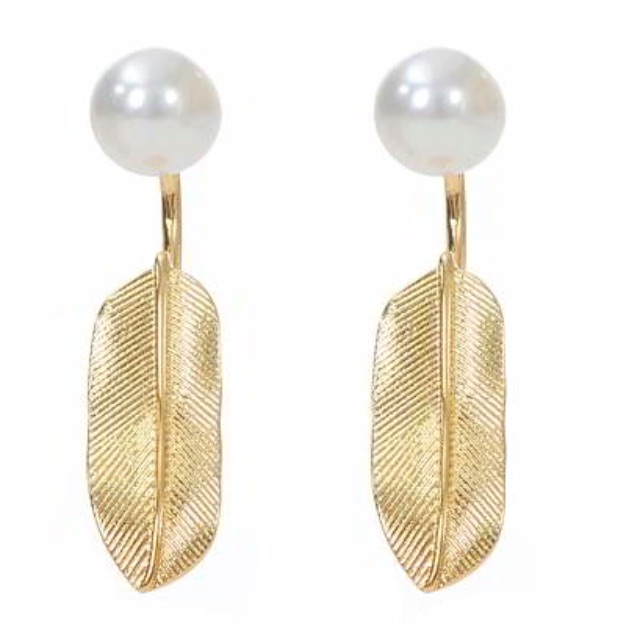 Anting Tusuk rock chic dior forever21 pearl decorated leaf shape - RA8A7D