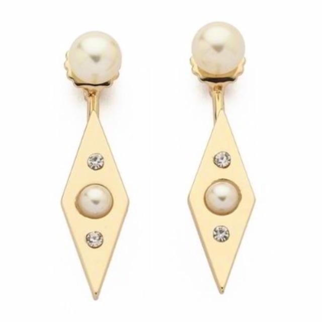 Anting Tusuk ROCK CHIC pearl pendant decorated rhombus shape design - RA6577