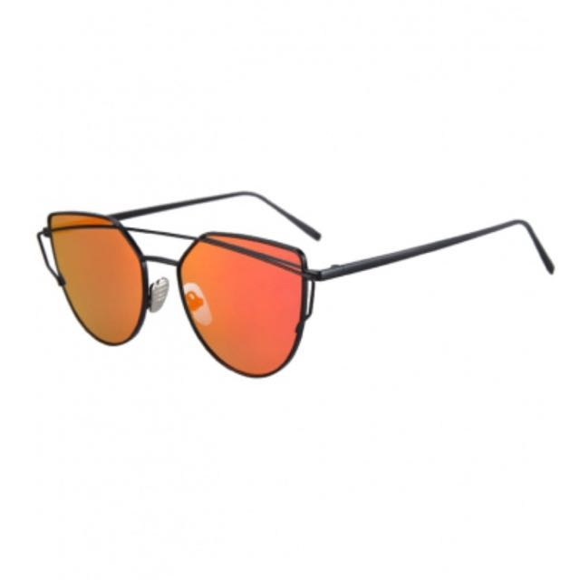 Black Frame Orange/ Red Lens Sunglasses