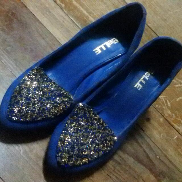 Blue Shoes W/ Glitter Design On Front