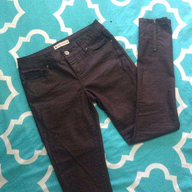 Burgundy Metallic Jeans