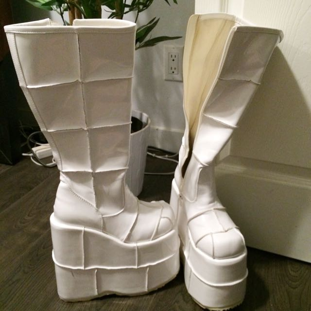 Demonia Stack Boots In White Patent