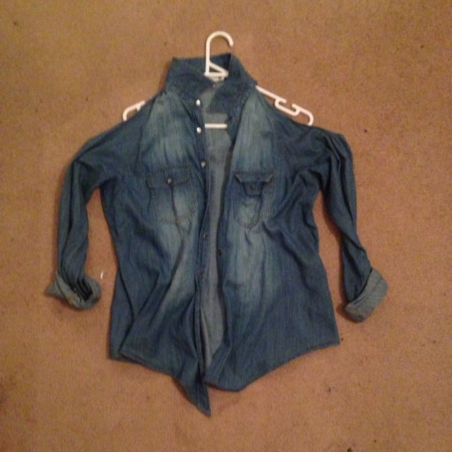 Denim Shirt, Cut- Out Shoulders