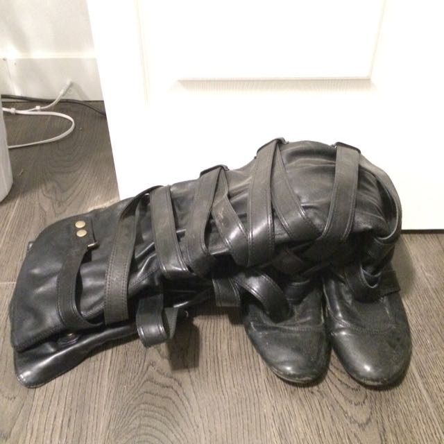 Jeffrey Campbell Thigh High Strappy Flat Boots