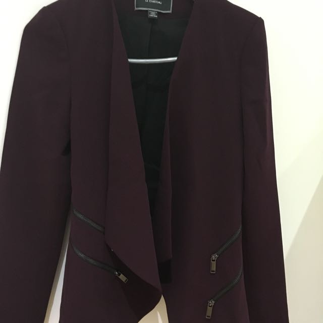 Le Chateau Aubergine Asymmetrical Flapover Jacket With Side Chain Details