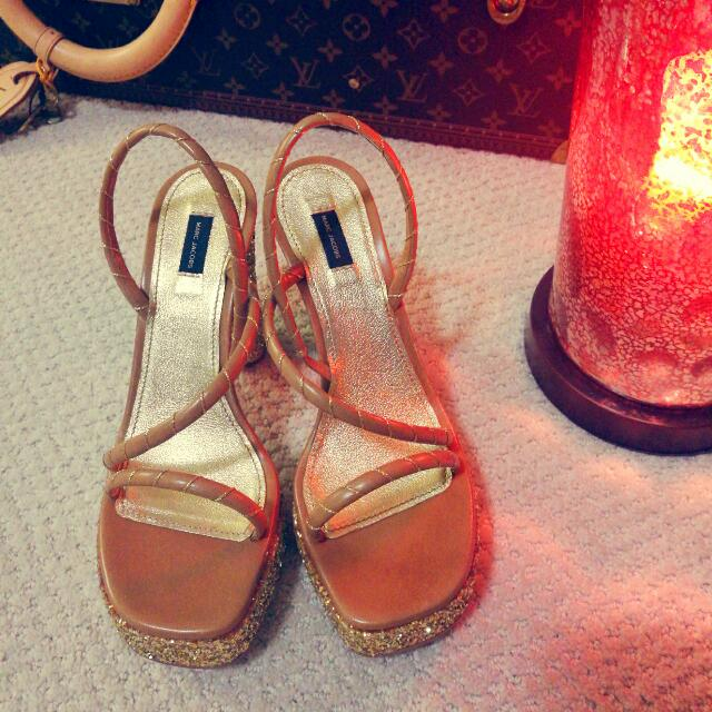 Marc Jacobs Glitter-finish leather sandals