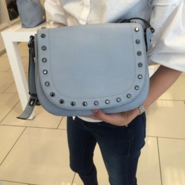 Michael Kors Hamilton Traveler Studded Large Crossbody Bag (Pale Blue)