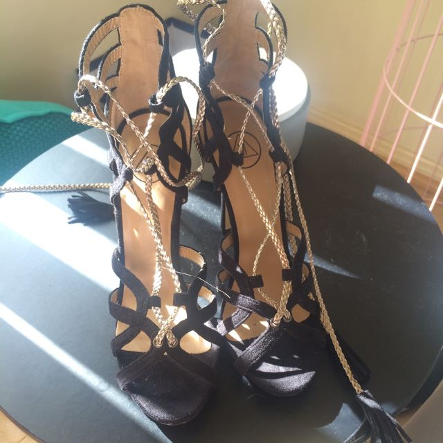 Misguided Black And Gold Lace Up Heels
