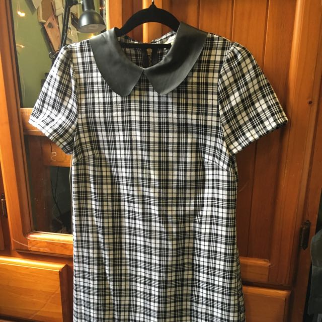 Miss Shop B&W Checkered Dress