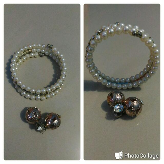 Pearl Bangle & Earrings Set